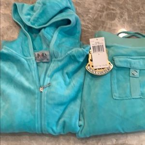 Juicy Couture turquoise flare leg track suit